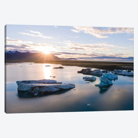 First Light Over The Icebergs Of Jokulsarlon, Iceland Canvas Print #TEO130} by Matteo Colombo Canvas Art