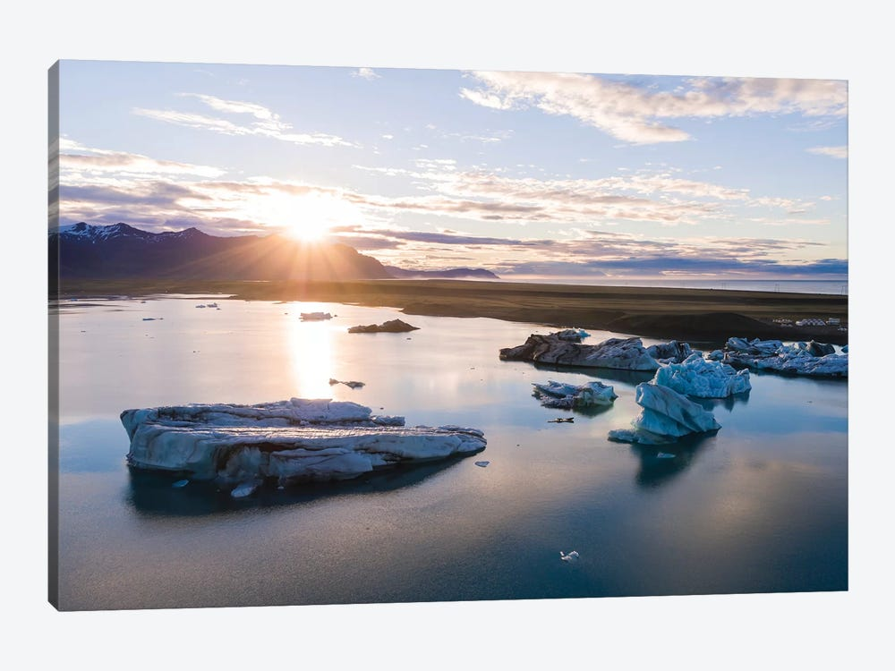 First Light Over The Icebergs Of Jokulsarlon, Iceland by Matteo Colombo 1-piece Canvas Art