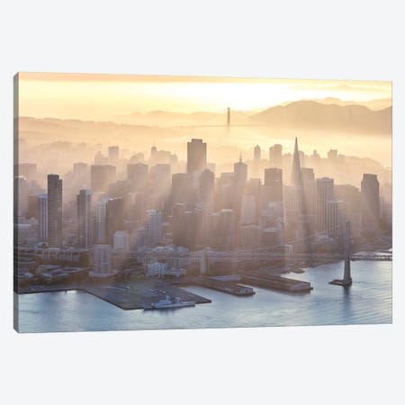 Foggy Sunset Over Downtown San Francisco Canvas Print #TEO131} by Matteo Colombo Canvas Artwork