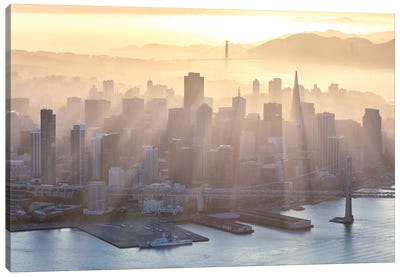 Foggy Sunset Over Downtown San Francisco Canvas Art Print