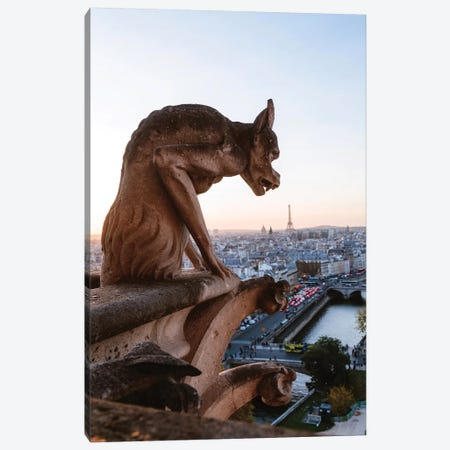 Gargoyle On Notre Dame Cathedral, Paris Canvas Print #TEO132} by Matteo Colombo Canvas Art