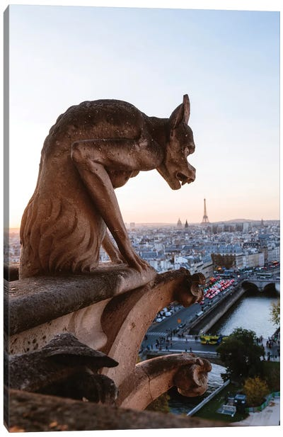 Gargoyle On Notre Dame Cathedral, Paris Canvas Art Print