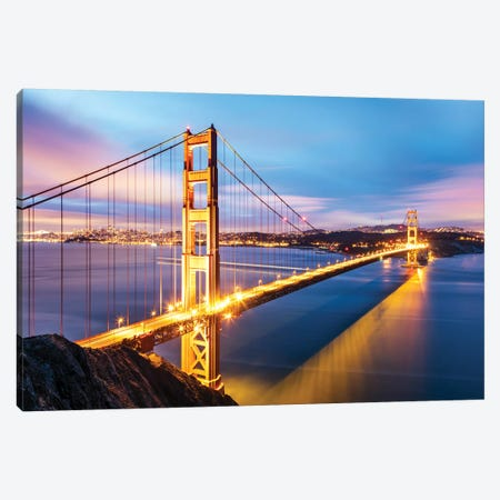 Golden Gate Bridge At Dawn, San Francisco Canvas Print #TEO133} by Matteo Colombo Canvas Artwork
