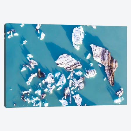 Icebergs From The Air, Iceland Canvas Print #TEO136} by Matteo Colombo Canvas Art Print