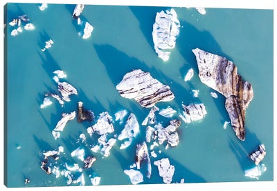 Icebergs From The Air, Iceland Canvas Art Print