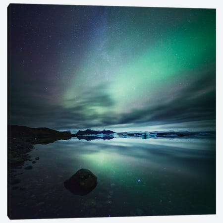 Aurora Borealis (Northern Lights) Over Glacial Lagoon, Iceland Canvas Print #TEO13} by Matteo Colombo Canvas Art Print