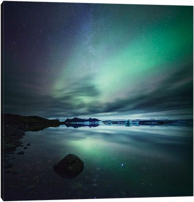 Aurora Borealis (Northern Lights) Over Glacial Lagoon, Iceland Canvas Art Print