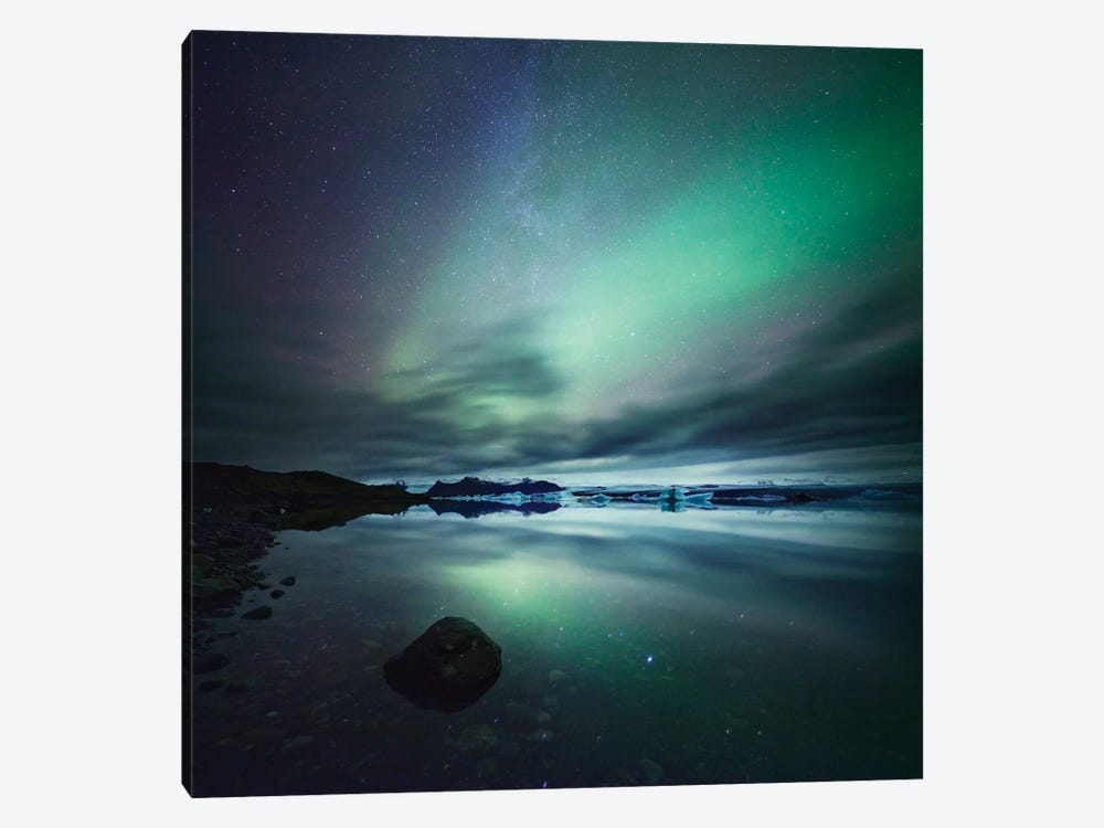 Aurora Borealis (Northern Lights) Over Glacial Lagoon, Iceland by Matteo Colombo 1-piece Canvas Artwork