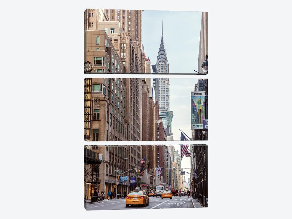 Lexington Avenue And Chrysler Building, New York by Matteo Colombo 3-piece Canvas Art Print