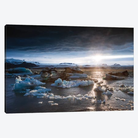 Midnight Sun On The Glacial Lagoon, Iceland Canvas Print #TEO141} by Matteo Colombo Art Print