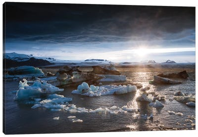 Midnight Sun On The Glacial Lagoon, Iceland Canvas Art Print
