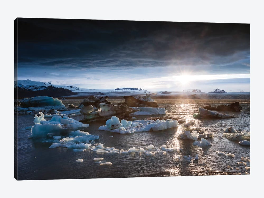 Midnight Sun On The Glacial Lagoon, Iceland by Matteo Colombo 1-piece Canvas Wall Art