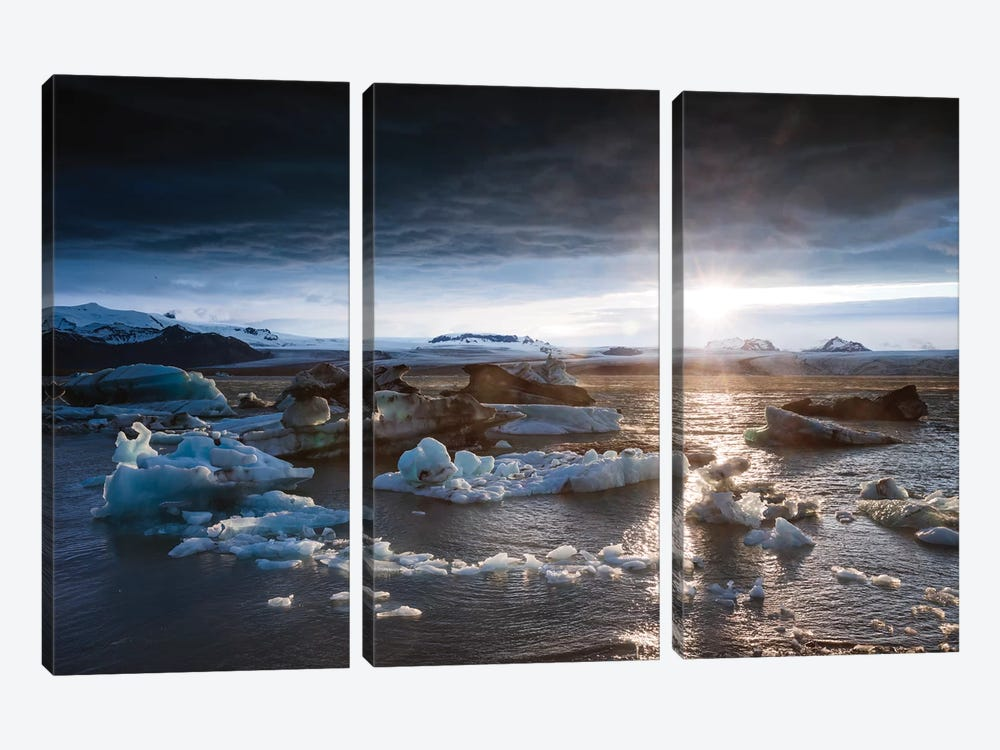 Midnight Sun On The Glacial Lagoon, Iceland by Matteo Colombo 3-piece Canvas Art