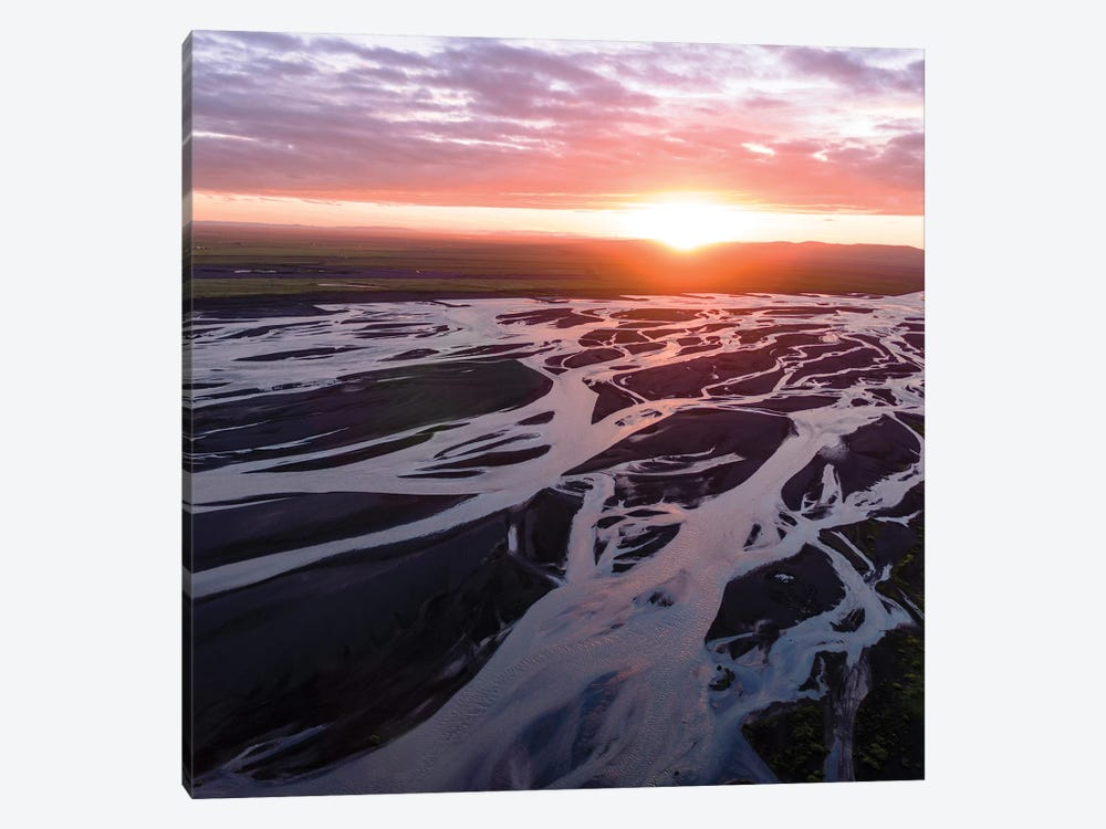 Midnight Sun On The River, Iceland by Matteo Colombo 1-piece Canvas Print