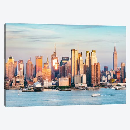 Midtown Manhattan Skyline At Sunset, New York Canvas Print #TEO143} by Matteo Colombo Canvas Art Print