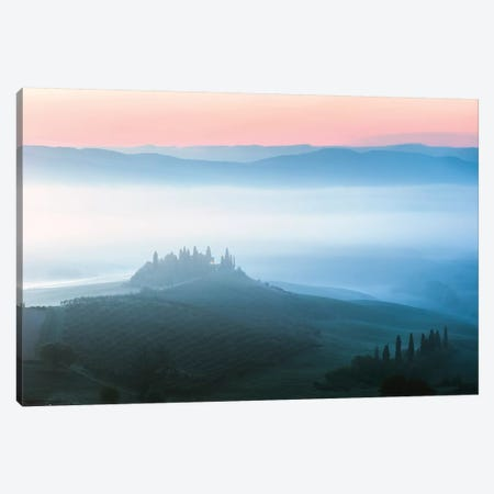 Misty Dawn Over Belvedere, Tuscany Canvas Print #TEO145} by Matteo Colombo Canvas Art
