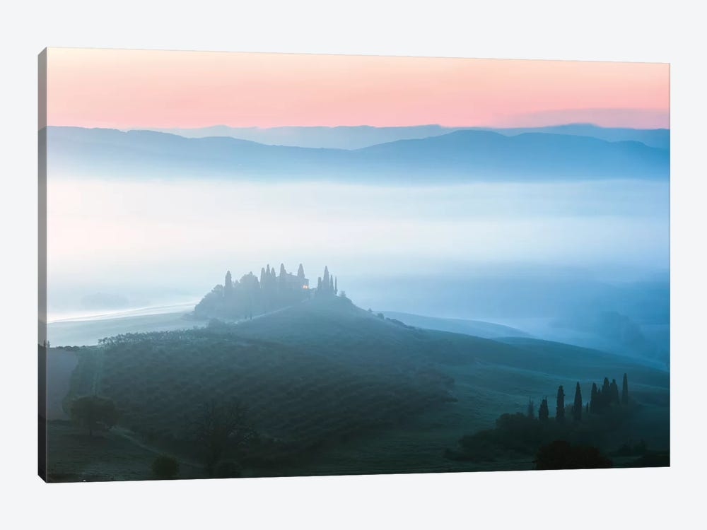 Misty Dawn Over Belvedere, Tuscany by Matteo Colombo 1-piece Canvas Artwork
