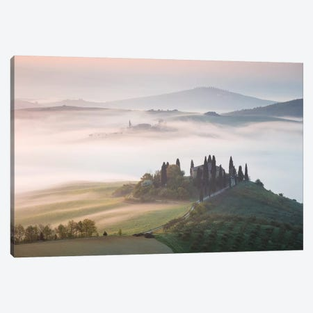 Misty Sunrise Over Farmhouse, Tuscany, Italy Canvas Print #TEO146} by Matteo Colombo Canvas Artwork