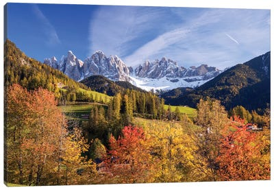 Autumn Landscape I, Odle/Geisler Group, Dolomites, Val di Funes, South Tyrol Province, Italy Canvas Art Print