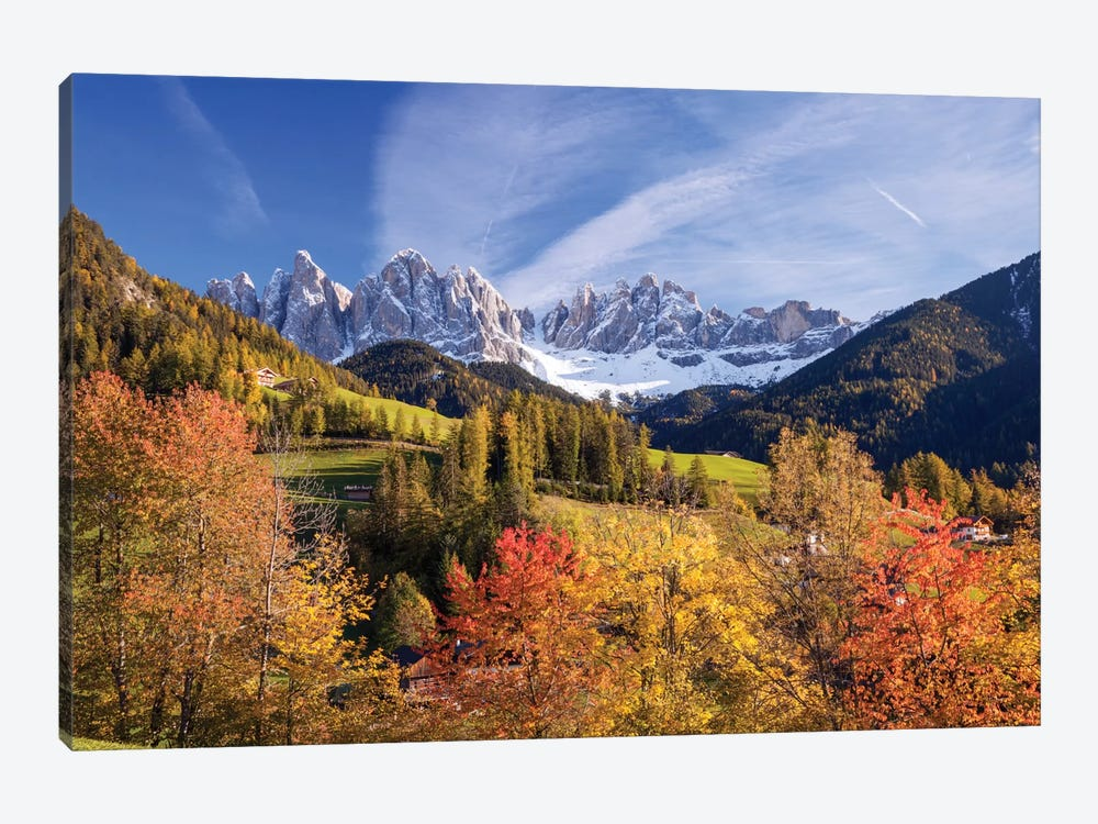Autumn Landscape I, Odle/Geisler Group, Dolomites, Val di Funes, South Tyrol Province, Italy by Matteo Colombo 1-piece Art Print