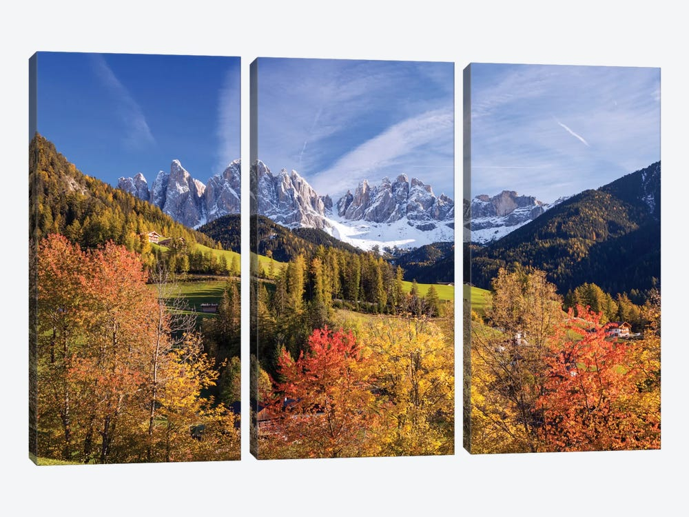 Autumn Landscape I, Odle/Geisler Group, Dolomites, Val di Funes, South Tyrol Province, Italy by Matteo Colombo 3-piece Canvas Art Print