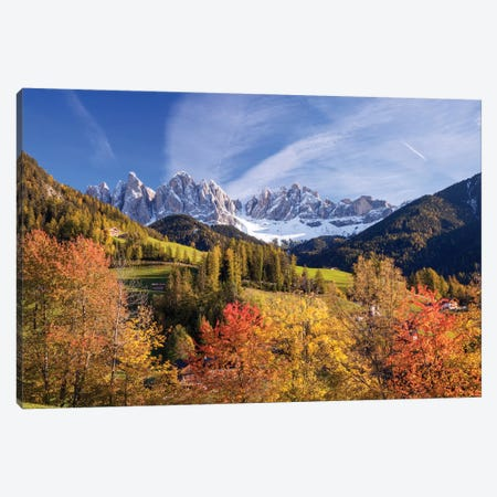 Autumn Landscape I, Odle/Geisler Group, Dolomites, Val di Funes, South Tyrol Province, Italy Canvas Print #TEO14} by Matteo Colombo Canvas Artwork