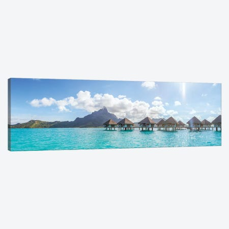 Panoramic Of Bungalows In Bora Bora Canvas Print #TEO152} by Matteo Colombo Canvas Wall Art
