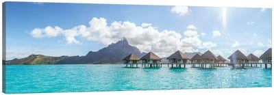 Panoramic Of Bungalows In Bora Bora Canvas Art Print