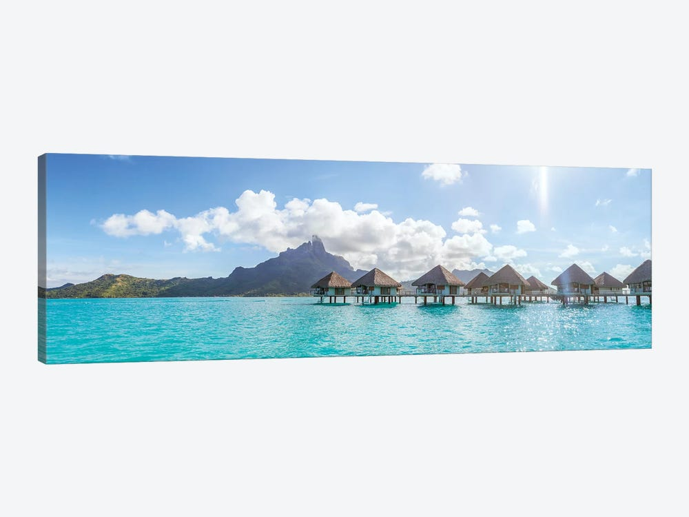 Panoramic Of Bungalows In Bora Bora by Matteo Colombo 1-piece Canvas Art