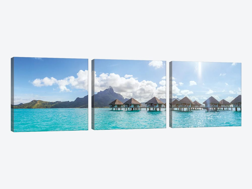 Panoramic Of Bungalows In Bora Bora by Matteo Colombo 3-piece Canvas Wall Art