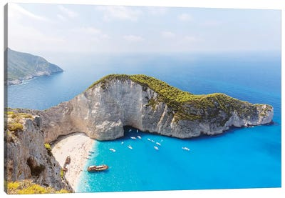 Panoramic Of Shipwreck Beach, Zakynthos, Greece Canvas Art Print