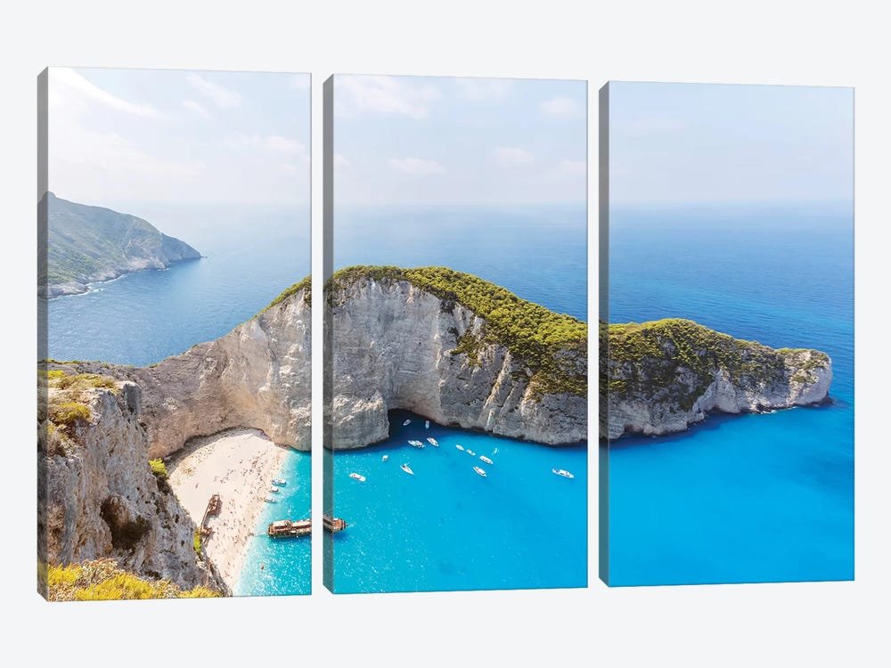 Panoramic Of Shipwreck Beach, Zakynthos, Greece by Matteo Colombo 3-piece Art Print