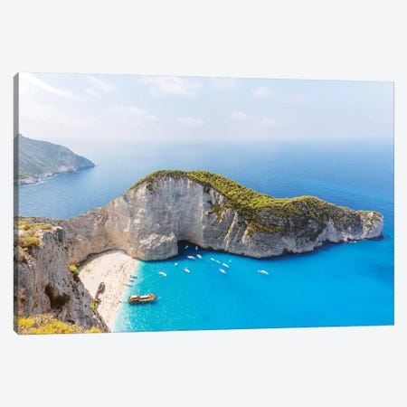 Panoramic Of Shipwreck Beach, Zakynthos, Greece Canvas Print #TEO153} by Matteo Colombo Canvas Wall Art