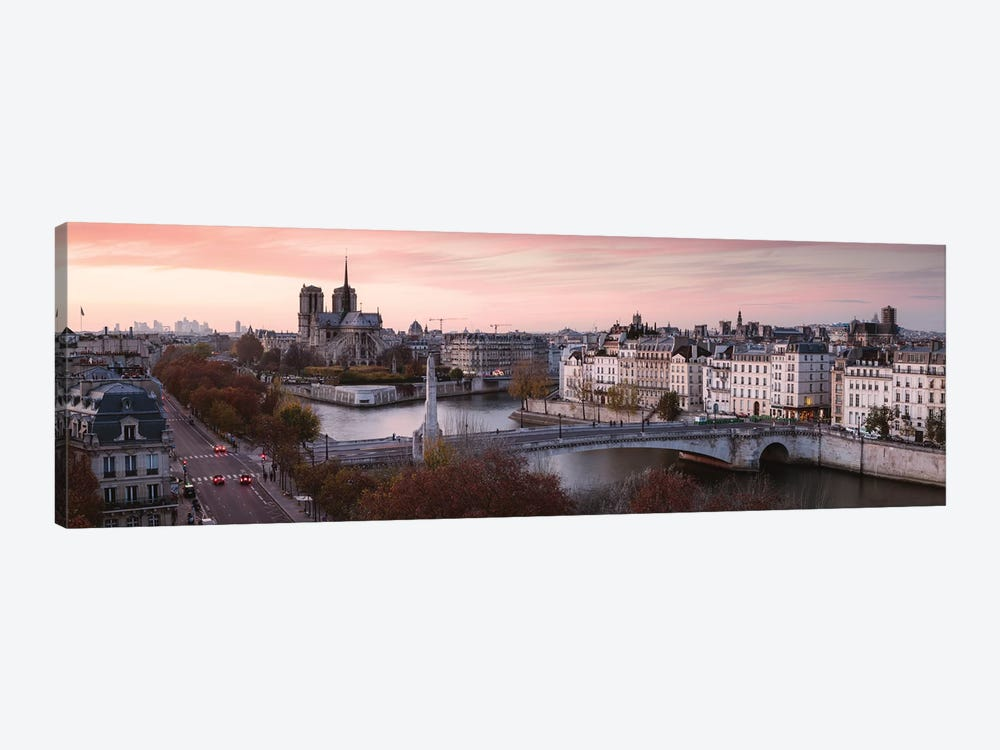 Panoramic Sunset Over The River Seine, Paris by Matteo Colombo 1-piece Canvas Artwork
