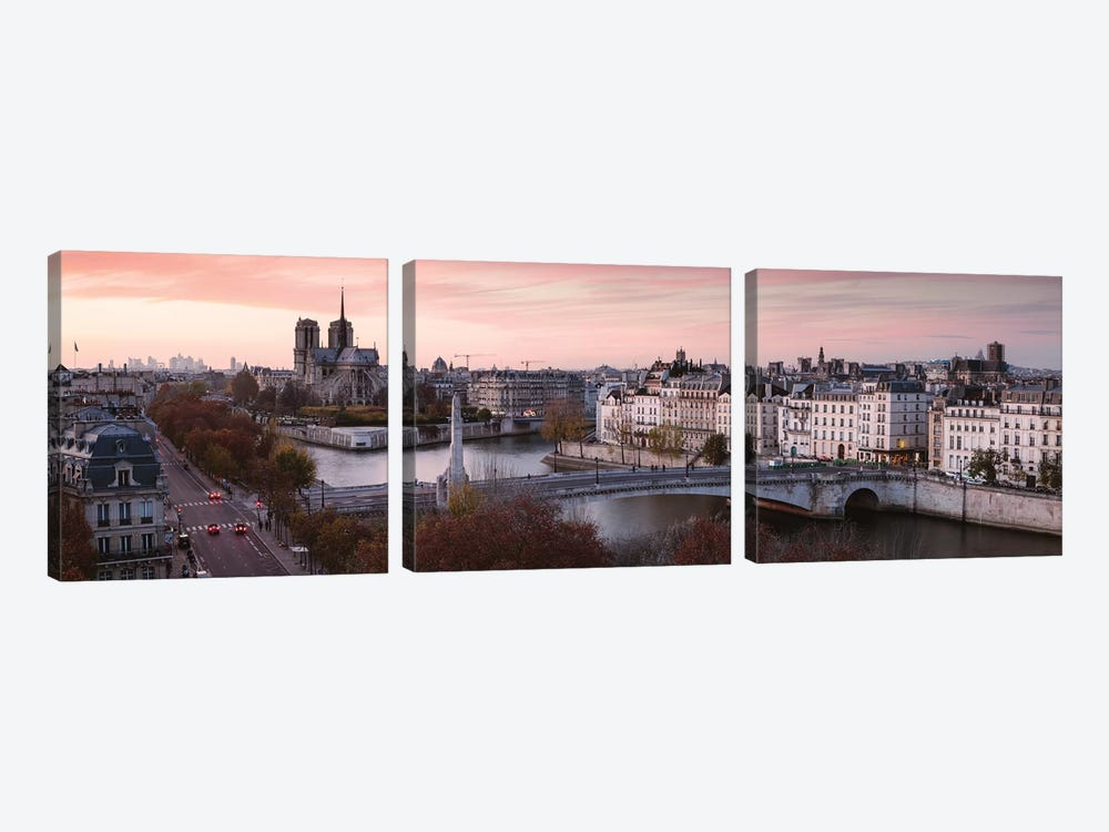 Panoramic Sunset Over The River Seine, Paris by Matteo Colombo 3-piece Canvas Wall Art