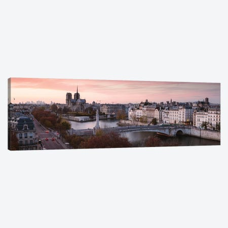 Panoramic Sunset Over The River Seine, Paris 3-Piece Canvas #TEO154} by Matteo Colombo Art Print