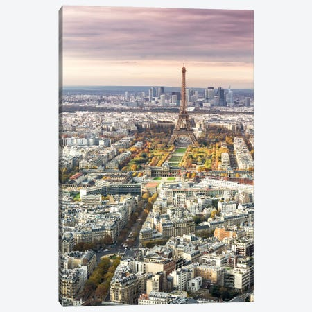 Paris And Eiffel Tower At Sunset, France I Canvas Print #TEO155} by Matteo Colombo Canvas Print