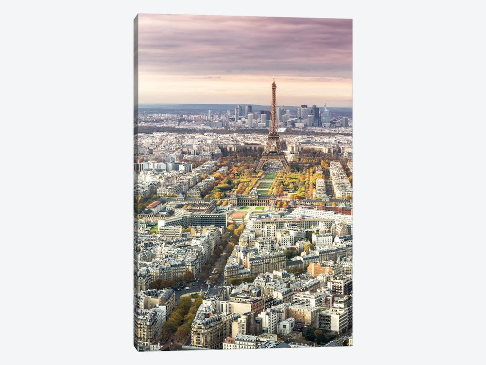 Paris And Eiffel Tower At Sunset, France I by Matteo Colombo 1-piece Canvas Art Print