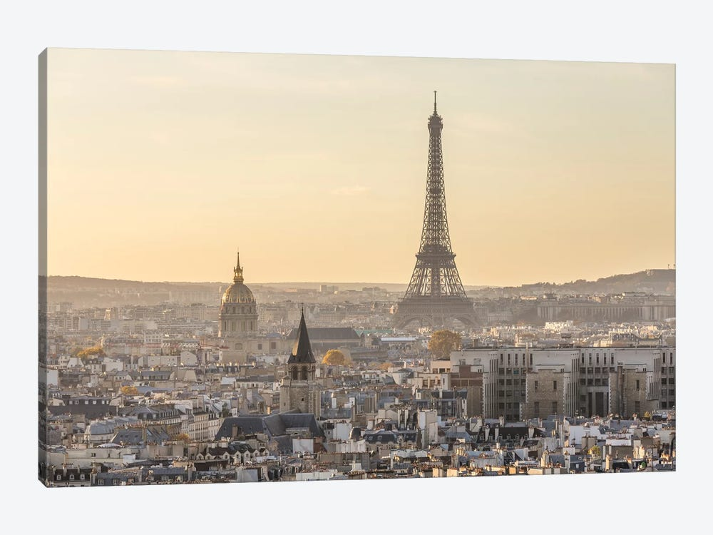 Paris And Eiffel Tower At Sunset, France II by Matteo Colombo 1-piece Canvas Art