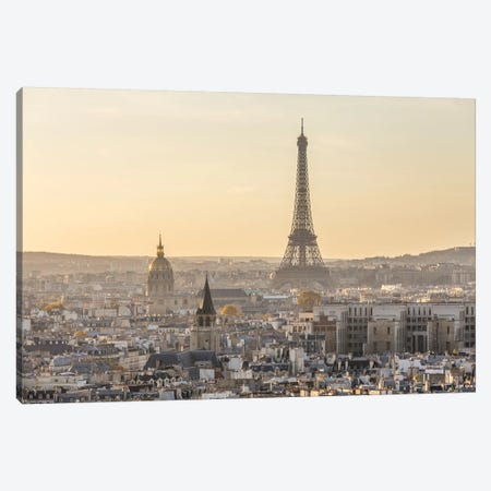 Paris And Eiffel Tower At Sunset, France II 3-Piece Canvas #TEO156} by Matteo Colombo Canvas Print