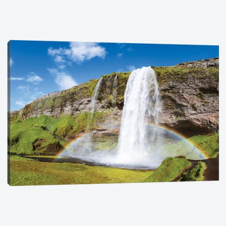 Rainbow At Seljalandsfoss Waterfall, Iceland Canvas Print #TEO157} by Matteo Colombo Art Print