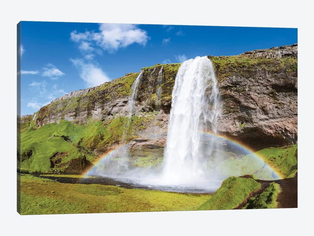 Rainbow At Seljalandsfoss Waterfall, Iceland 1-piece Canvas Art Print