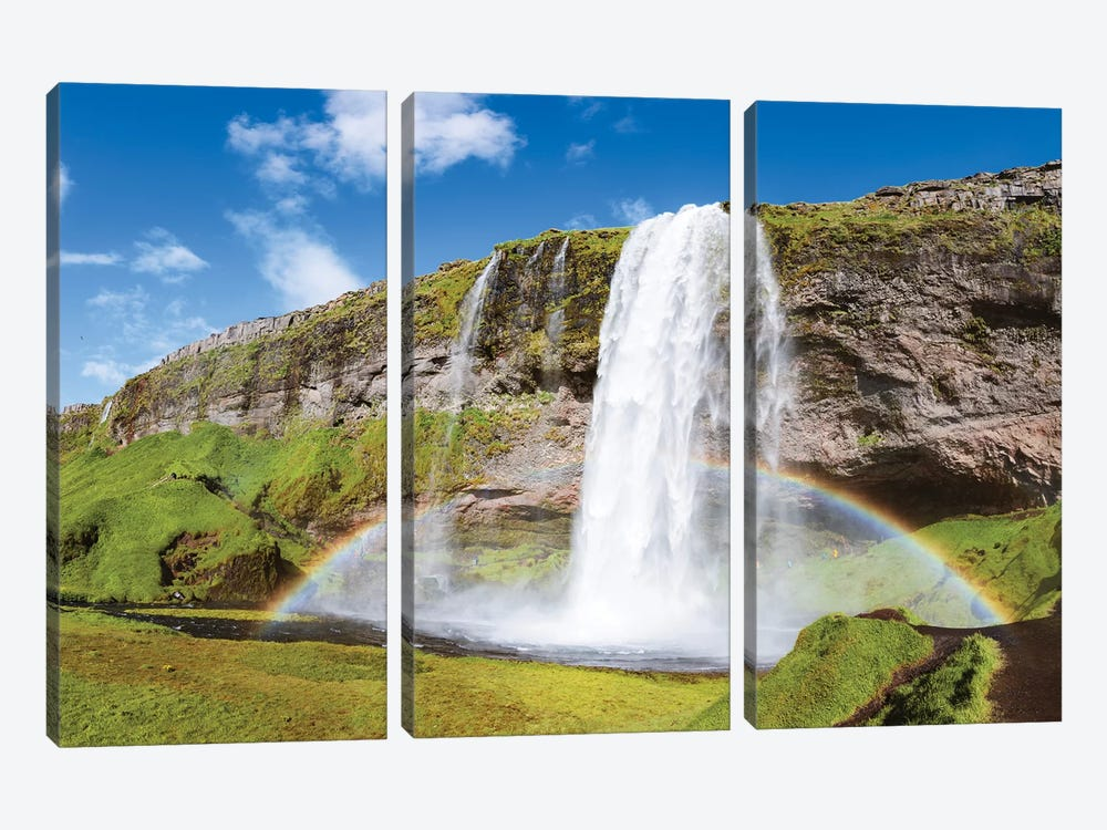 Rainbow At Seljalandsfoss Waterfall, Iceland 3-piece Canvas Art Print