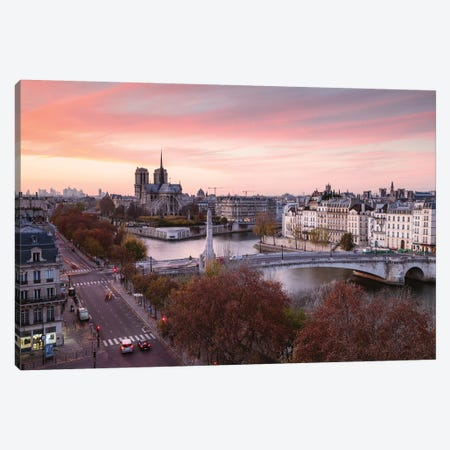 Romantic Sunset Over Paris Canvas Print #TEO158} by Matteo Colombo Canvas Artwork