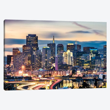 San Francisco Skyline At Night Canvas Print #TEO159} by Matteo Colombo Canvas Art
