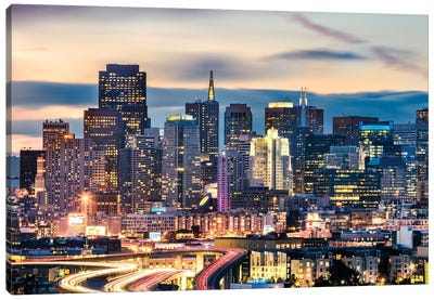San Francisco Skyline At Night Canvas Art Print