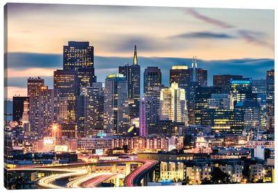 San Francisco Skyline At Night Canvas Art Print
