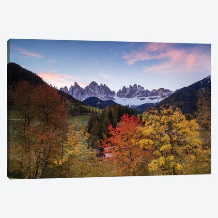 Autumn Landscape II, Odle/Geisler Group, Dolomites, Val di Funes, South Tyrol Province, Italy Canvas Print #TEO15} by Matteo Colombo Canvas Wall Art