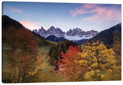 Autumn Landscape II, Odle/Geisler Group, Dolomites, Val di Funes, South Tyrol Province, Italy Canvas Art Print
