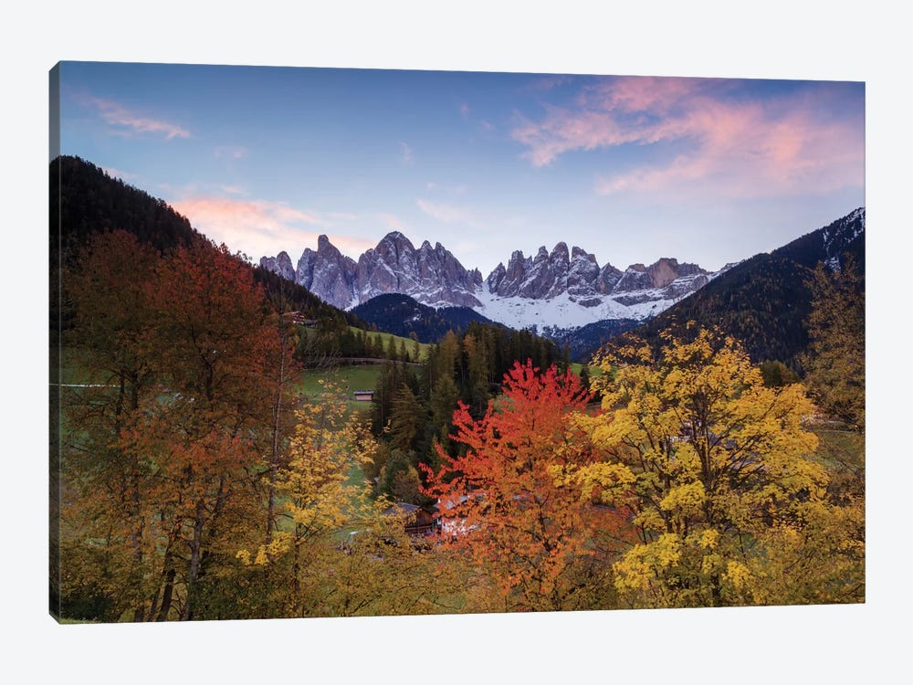 Autumn Landscape II, Odle/Geisler Group, Dolomites, Val di Funes, South Tyrol Province, Italy by Matteo Colombo 1-piece Canvas Wall Art